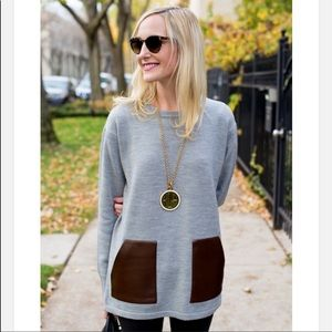 J Crew grey merino wool sweater with faux brown leather front pockets M